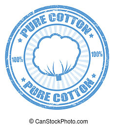 Blue grunge rubber stamp with the text pure cotton written inside, vector illustration