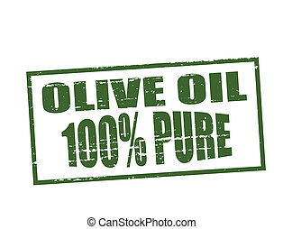Rubber stamp with text pure olive oil inside, vector illustration