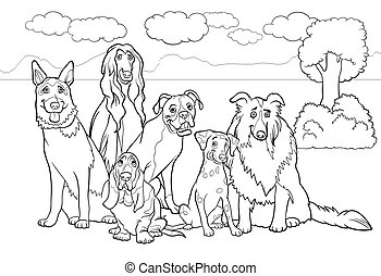 Black and White Cartoon Illustration of Cute Purebred Dogs or Puppies Group against Rural Landscape or Park Scene for Coloring Book