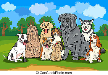 Cartoon Illustration of Funny Purebred Dogs or Puppies Group against Rural Landscape with Blue Sky