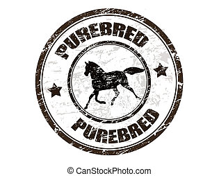 Grunge rubber stamp with horse silhouette and the word purebred written inside the stamp