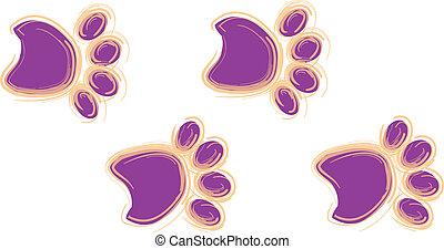Purple and Orange Paw Prints