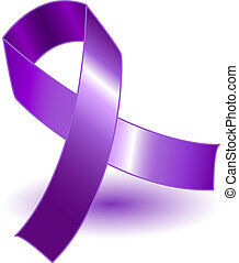 Purple awareness ribbon over a white background with drop shadow, simple and effective.