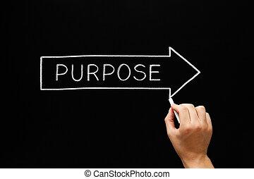 Purpose Following Arrow Concept On Blackboard