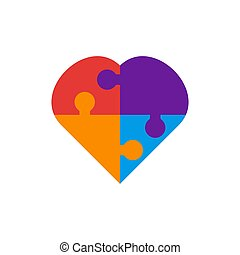 Puzzle love heart vector graphic design illustration