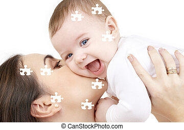 puzzle of laughing baby playing with mother