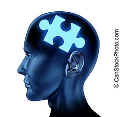 Puzzled brain representing solutions and creativity with a missing piece of the puzzle as a mental health icon isolated on a white background.