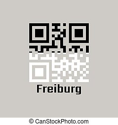 QR code set the color of Freiburg flag, The canton of Switzerland with text Freiburg.