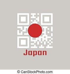 QR code set the color of Japan flag.