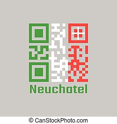 QR code set the color of Neuchatel flag, The canton of Switzerland with text Neuchatel.