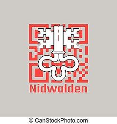 QR code set the color of Nidwalden flag, The canton of Switzerland