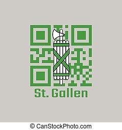 QR code set the color of Sankt Gallen flag, The canton of Switzerland