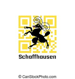 QR code set the color of Shaffhausen flag, The canton of Switzerland