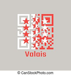 QR code set the color of Wallis flag, The canton of Switzerland