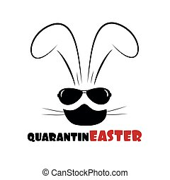 QuarantinEaster text with bunny in mask.