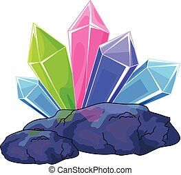 Illustration of a multi colored quartz crystal