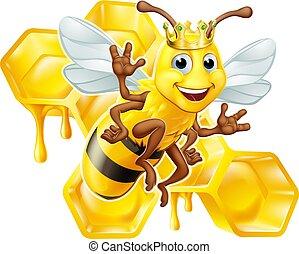 Queen Bumble Bee in Crown Honeycomb Cartoon
