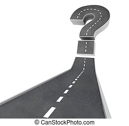 A road leading to a question mark symbolizing uncertainty and doubt