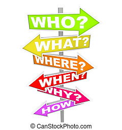 Several colorful arrow street signs with the common questions - who, what, where, when, why, how