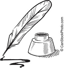 Doodle style feather quill pen and ink well illustration in vector format