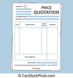Illustration of blank sale price quotation form