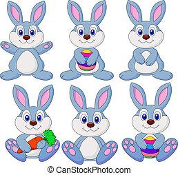 Vector illustration of rabbit carton set