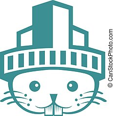 Rabbit city logo design.