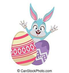Rabbit with easter eggs cartoon