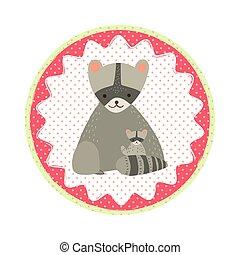 Raccoon badge emblem