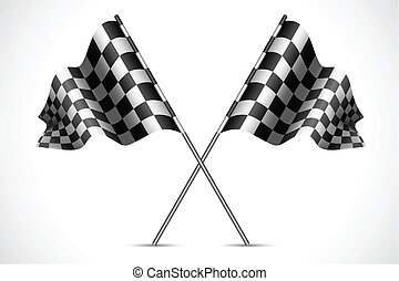 illustration of race flag with checkered texture
