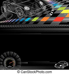 Car racing design in black. Vector layered.