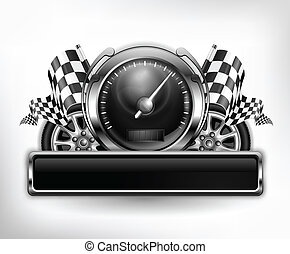 Racing emblem, speedometer, checkered flags and wheels on white, vector illustration