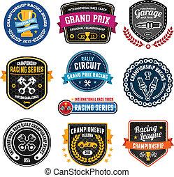 Set of car racing emblems and championship badges