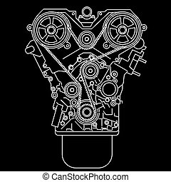 racing engine, front view. Vector illustration.