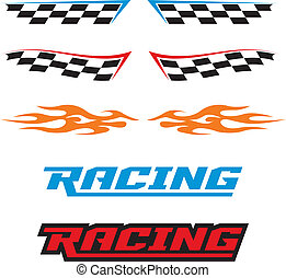 A selection of vector racing icons, flames, and checkered flags.