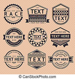 Racing insignia, vintage style, vector illustration