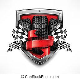Racing symbols on shield, tires, ribbon and flags, vector illustration