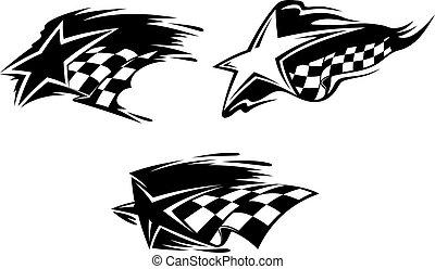 Set of racing symbols for sports design. Vector illustration