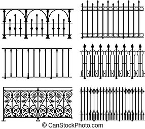 six different wrought iron modular railings and fences