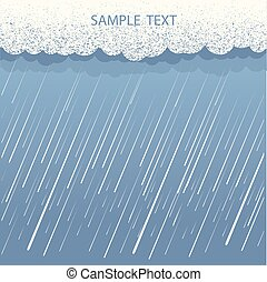 Rain background. Vector image with dark clouds in wet day