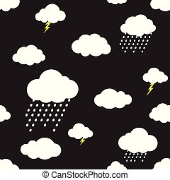 Rain cloud vector seamless pattern isolated wallpaper background black