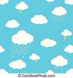 Rain cloud vector seamless pattern isolated wallpaper background blue