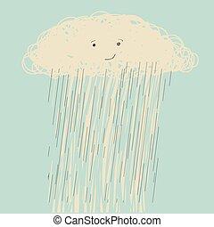 Rain. Vector hand drawn dark cloud face in wet day