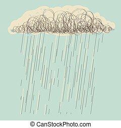 Rain. Vector hand drawn dark cloud in wet day