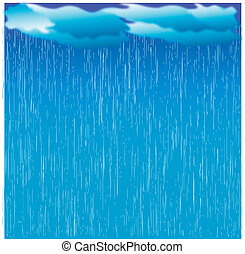 Rain. Vector image with dark clouds in wet day