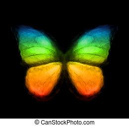Rainbow Color Butterfly. Vector