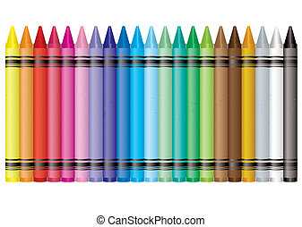 Collection of crayons in the colours of the rainbow