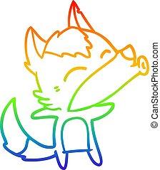 rainbow gradient line drawing cartoon howling wolf