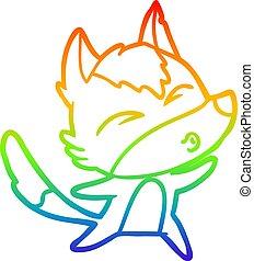 rainbow gradient line drawing cartoon wolf howling
