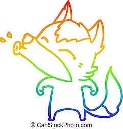 rainbow gradient line drawing howling wolf cartoon